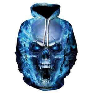 Blue Flame Skull Hoodie