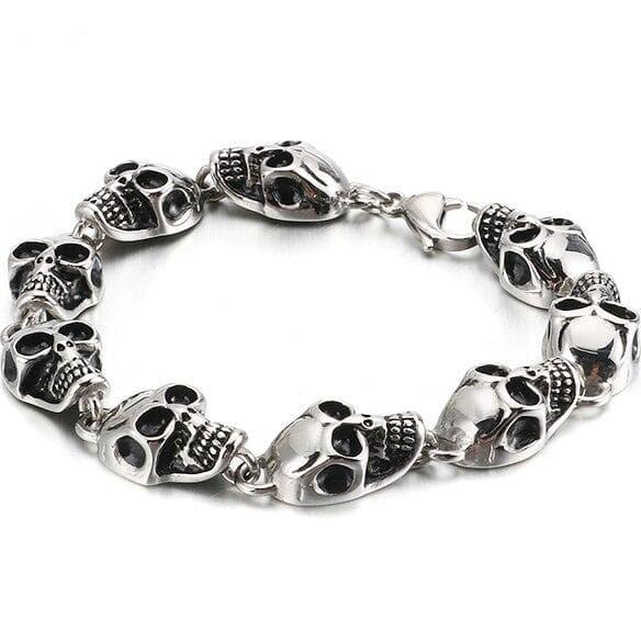 Skull link bracelet stainless steel