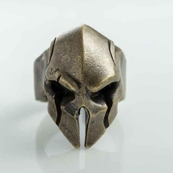 Spartan helmet ring bronze