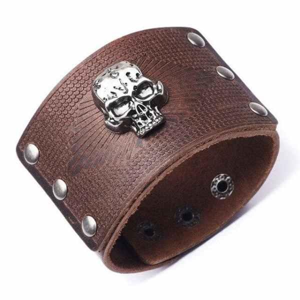 Leather Skull Cuff Light Brown