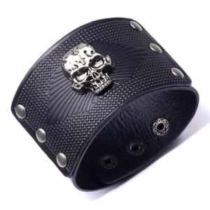Leather Skull Cuff