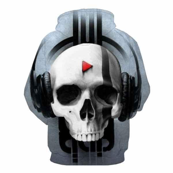 Skull with Headphones Hoodie back