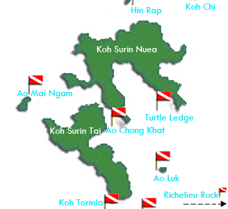 Dive sites of the Surin Islands