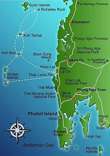 Dive Site maps of the Similan Islands Pirate Divers International