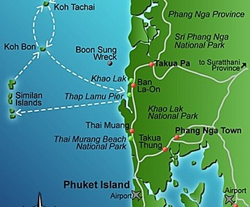 Maps of the Similan & Surin Islands