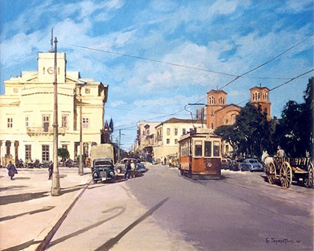 Τραμ, Παλαιό Δημαρχείο (Ωρολόγιο), Τινάνειος Κήπος, ιπποκίνητο κάρο στα αριστερά και στο βάθος η παλιά Αγία Τριάδα με τα διπλά Κωδωνοστάσια (μετατροπή του 1936). Πίσω από την εκκλησία το ξενοδοχείο ΠΑΡΘΕΝΩΝ.