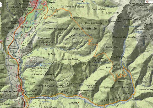 Mapa detalle de la vuelta a la Selva de Villanúa