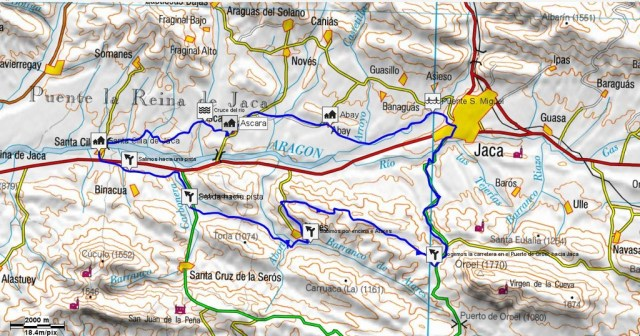 Mapa Jaca - Santa Cilia - Atares - Puerto oroel - Jaca