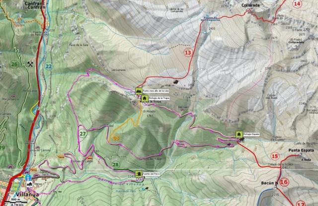 Mapa de detalle de la subida a la Trapa y las bajadas del Barranco de Azún y de la Fuente del Paco