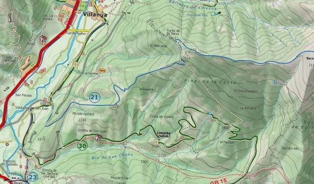 Mapa detalle, enlace de la vuelta a Cenarbe con Villanúa