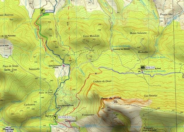 Mapa detalle 01: Senda Fonfría y Senda del Oro