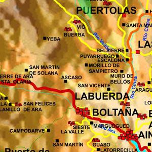 mapa de la zona de Boltaña