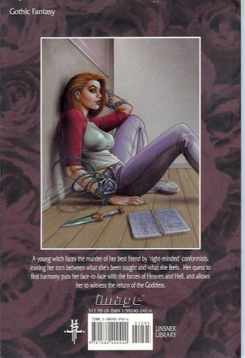 The back cover of the Return of the Goddess graphic novel shows Dawn sitting on the floor with her knees bent, feet flat on the floor, wearing a baseball-style t-shirt with white as the main color and red sleeves, jeans and sneakers.