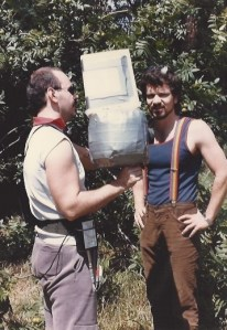 """pirromount crew Mark Pirro and Sergio Bandera working with a tupperware blimp camera for """"Curse of the Queerwolf."""""""