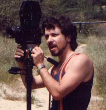 Filmmaker Mark Pirro shooting on the set of Curse of the Queerwolf (1988)