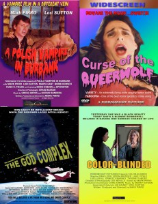posters for four Pirromount movies: God Complex, Polish Vampire, Color-Blinded, Queerwolf