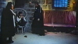 "Mark Pirro, Hugh O. Fields and Marya Gant in the castle set built in a garage for ""A Polish Vampire in Burbank"" (Pirromount Pictures 1983)"