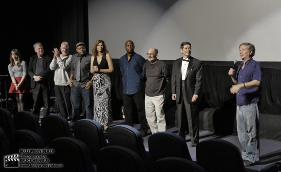 "Pirro (far right) presents the stellar cast of ""Rage of Innocence"" after the showing."