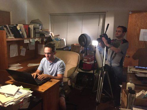 "Cameraman Bruce Heinsius filming actor Dennis Kinard for Pirromount's ""Celluloid Soul."""