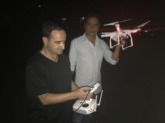 Bruce Heinsius and Ace Cruz operate a drone for Pirromount's Celluloid Soul.