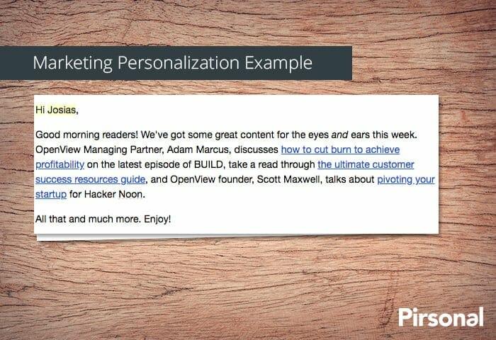 Ejemplo de personalización de marketing con un correo electrónico.