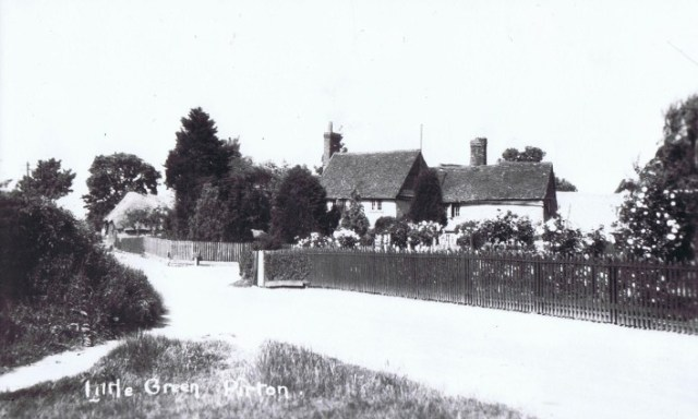 1930s  Looking down Royal Oak Lane with Elm Tree Farm on the right and the thatched barn of Little Green Farm beyond.