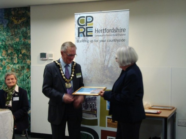 Sue Keen receiving the award at County Hall.