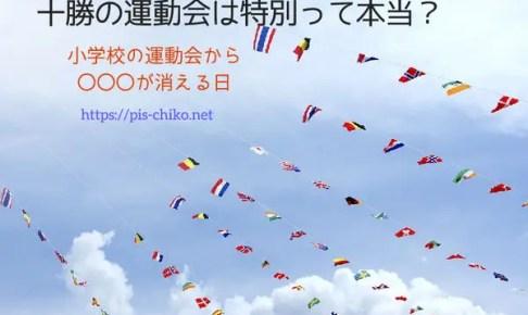 運動会の万国旗が並ぶ空