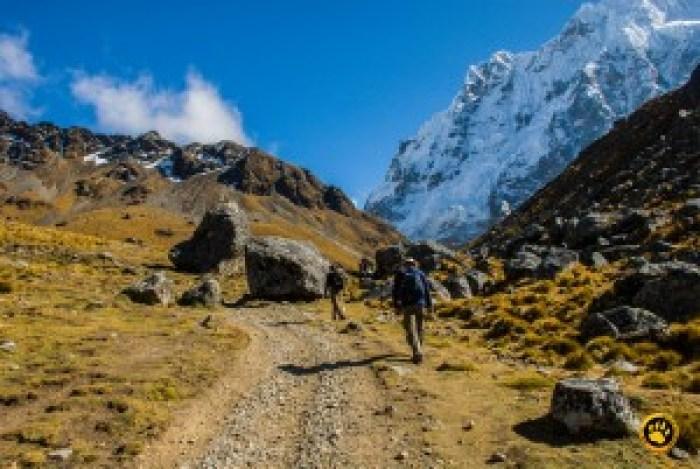 Vista do monte Salcantay durante o segundo dia de trekking. Momentos de rara emoção.