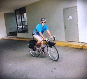 Llegando al trabajo en bicicleta