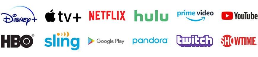 Disney+, Apple TV+, Netflix, Hulu, Amazon Prime Video, YouTube, HBO, Sling TV, Google Play, Twitch, Showtime