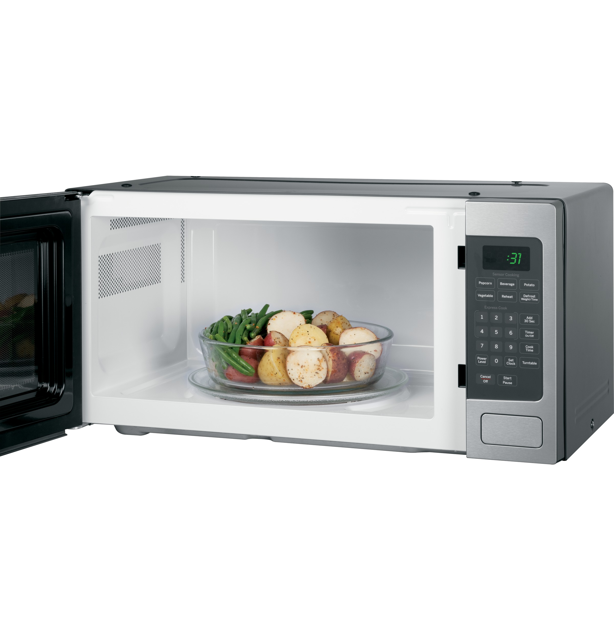 ge profile series 1 1 cu ft mid size microwave stainless steel