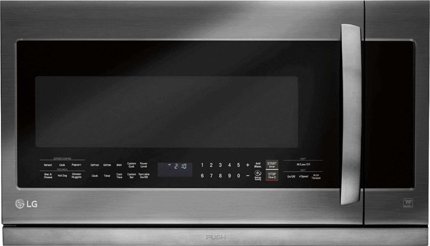 lg 2 2 cu ft extendavent 2 0 over the range microwave with sensor cooking printproof black stainless steel