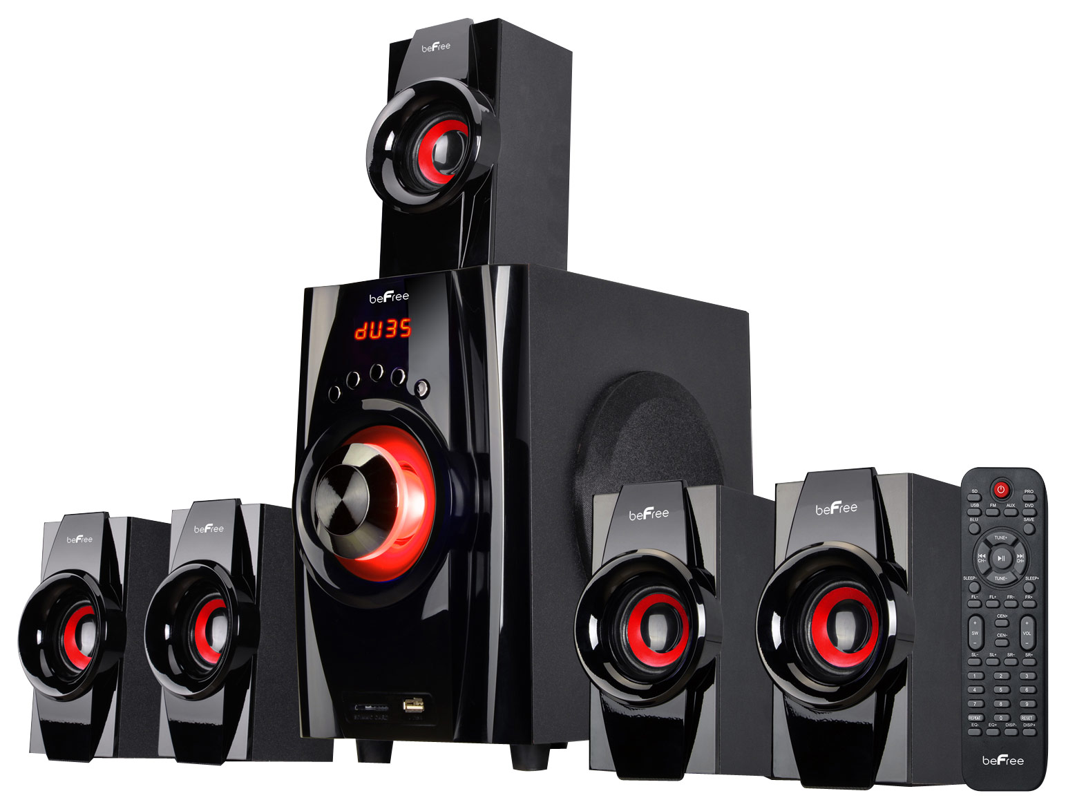 BeFree Sound 51 Channel Bluetooth Speaker System BlackRed 91592794M Best Buy