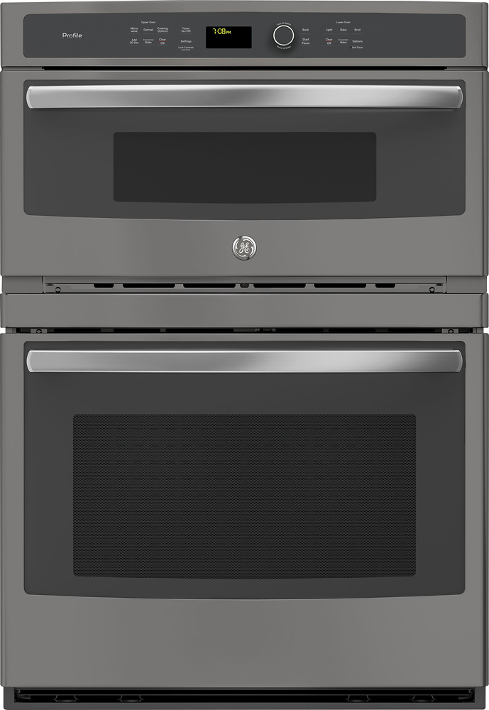 ge profile 30 built in double electric convection wall oven with built in microwave slate
