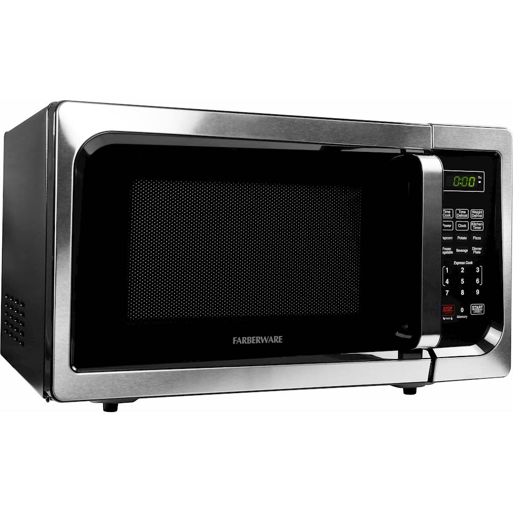 farberware classic 0 9 cu ft compact microwave stainless steel
