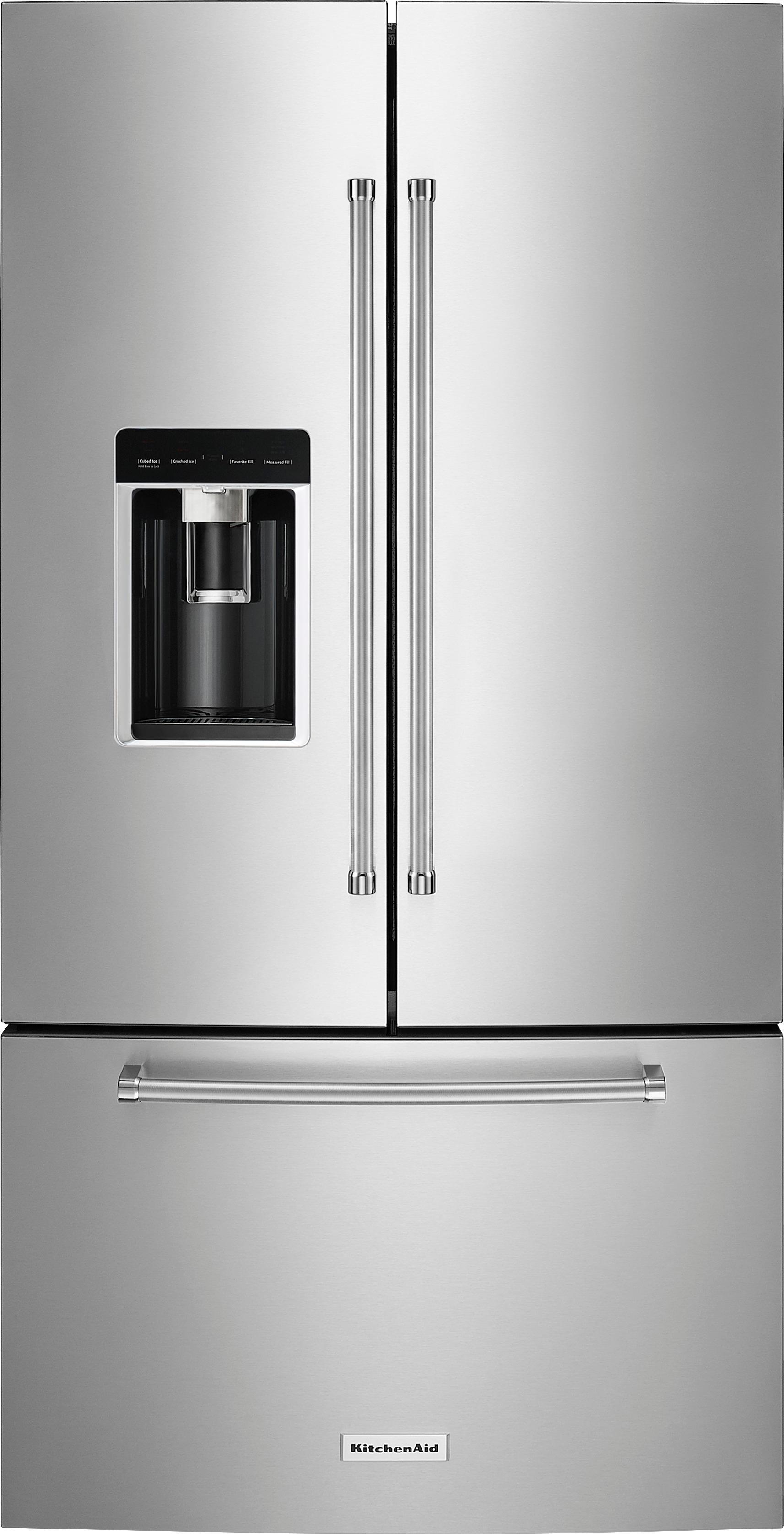 KitchenAid 238 Cu Ft French Door Counter Depth Refrigerator PrintShield Stainless KRFC704FPS
