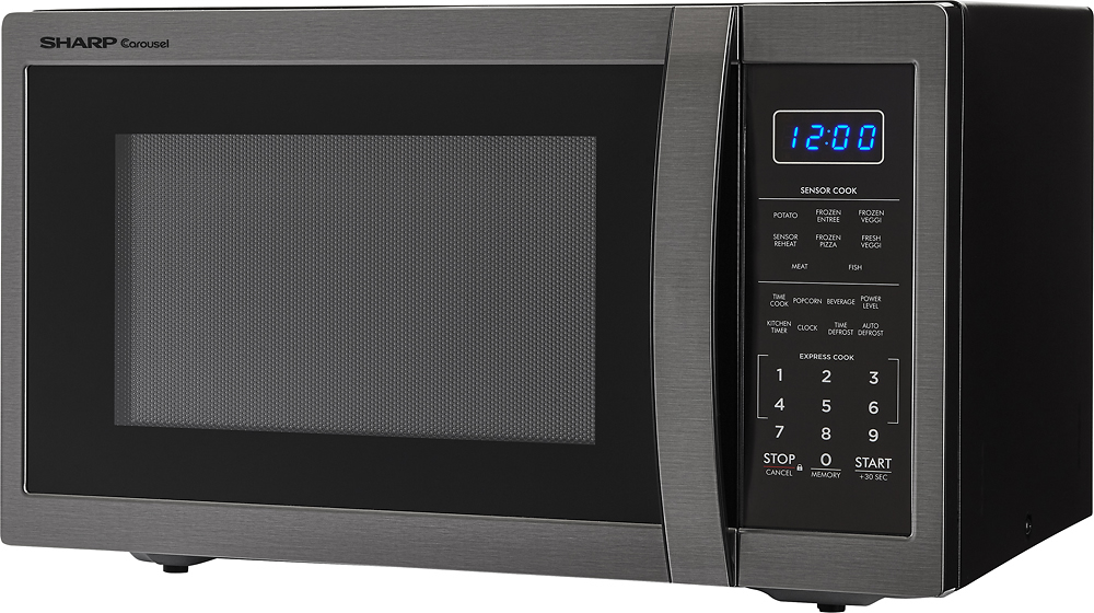 sharp carousel 1 4 cu ft mid size microwave black stainless steel