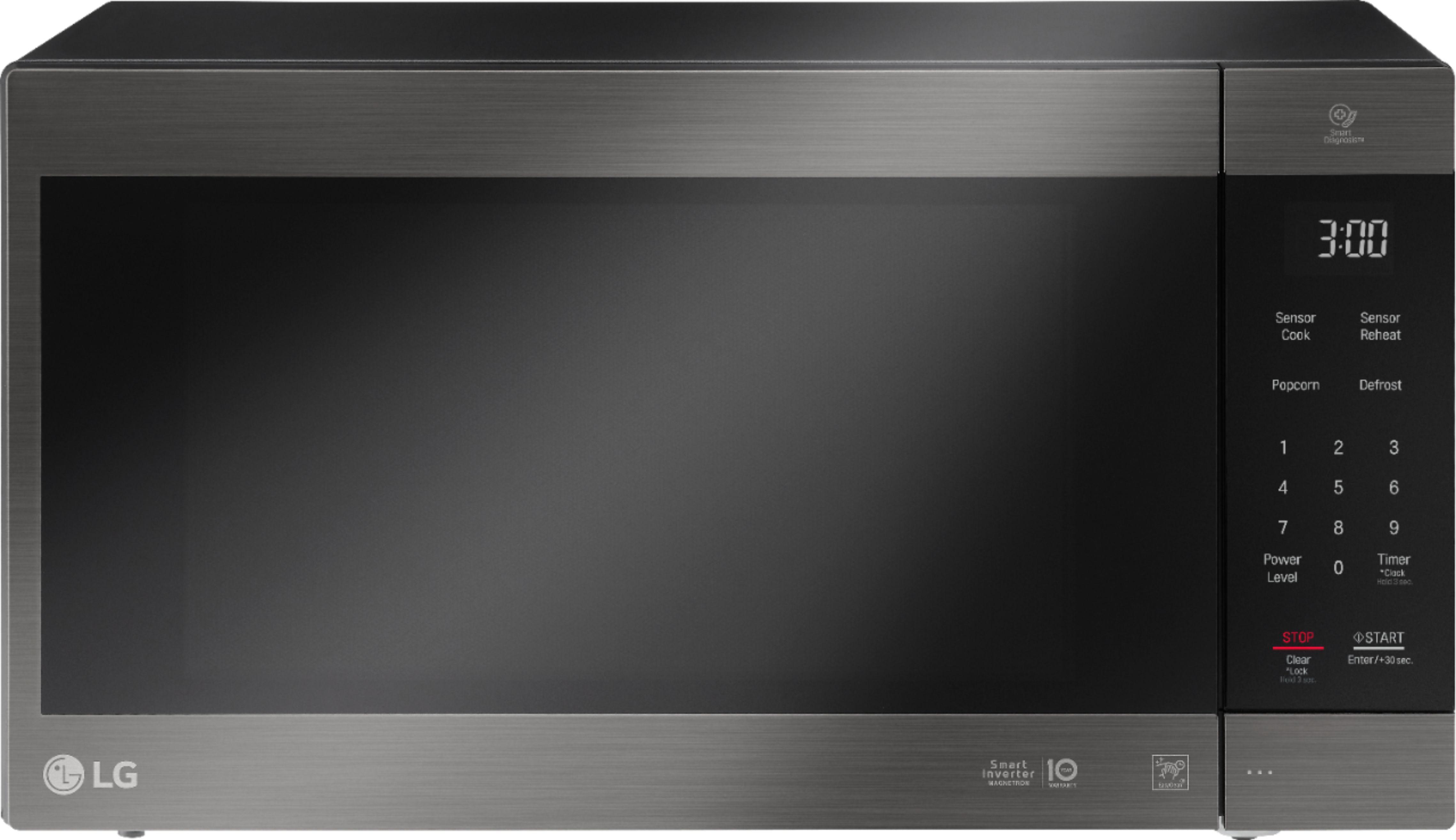 lg neochef 2 0 cu ft countertop microwave with smart inverter and easyclean printproof black stainless steel