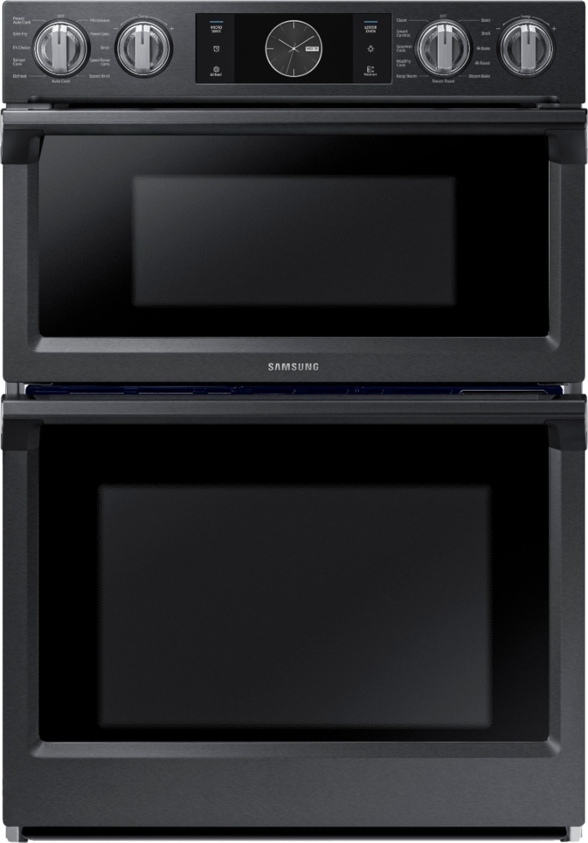 samsung 30 microwave combination wall oven with flex duo steam cook and wifi fingerprint resistant black stainless steel