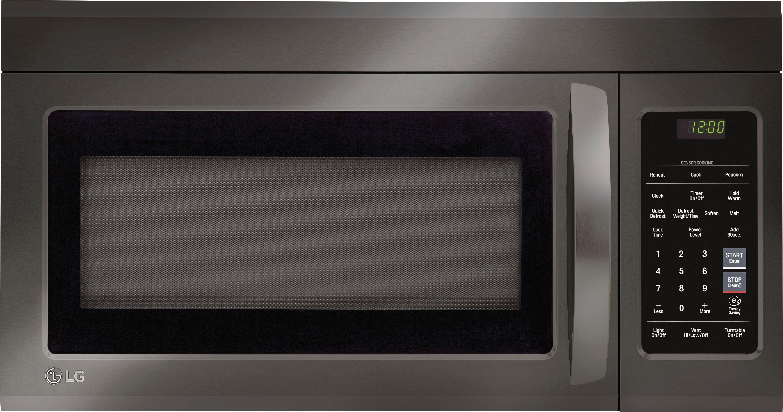 lg 1 8 cu ft over the range microwave with sensor cooking printproof black stainless steel