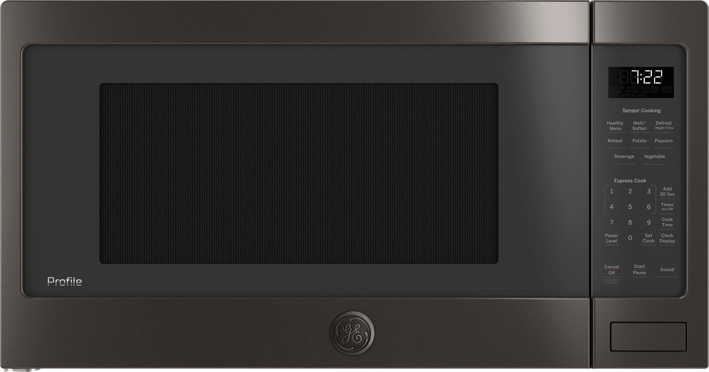 ge profile 2 2 cu ft microwave black stainless steel