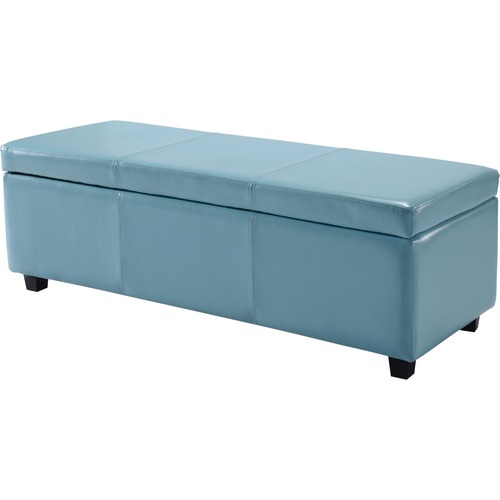 simpli home avalon large rectangular faux leather storage ottoman bench blue