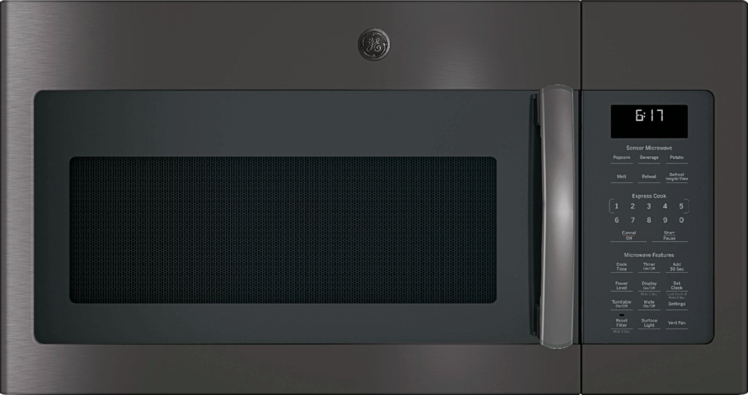 ge 1 7 cu ft over the range microwave black stainless steel