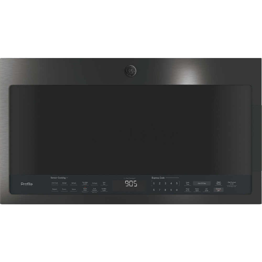ge profile 2 1 cu ft over the range microwave with sensor cooking black stainless steel