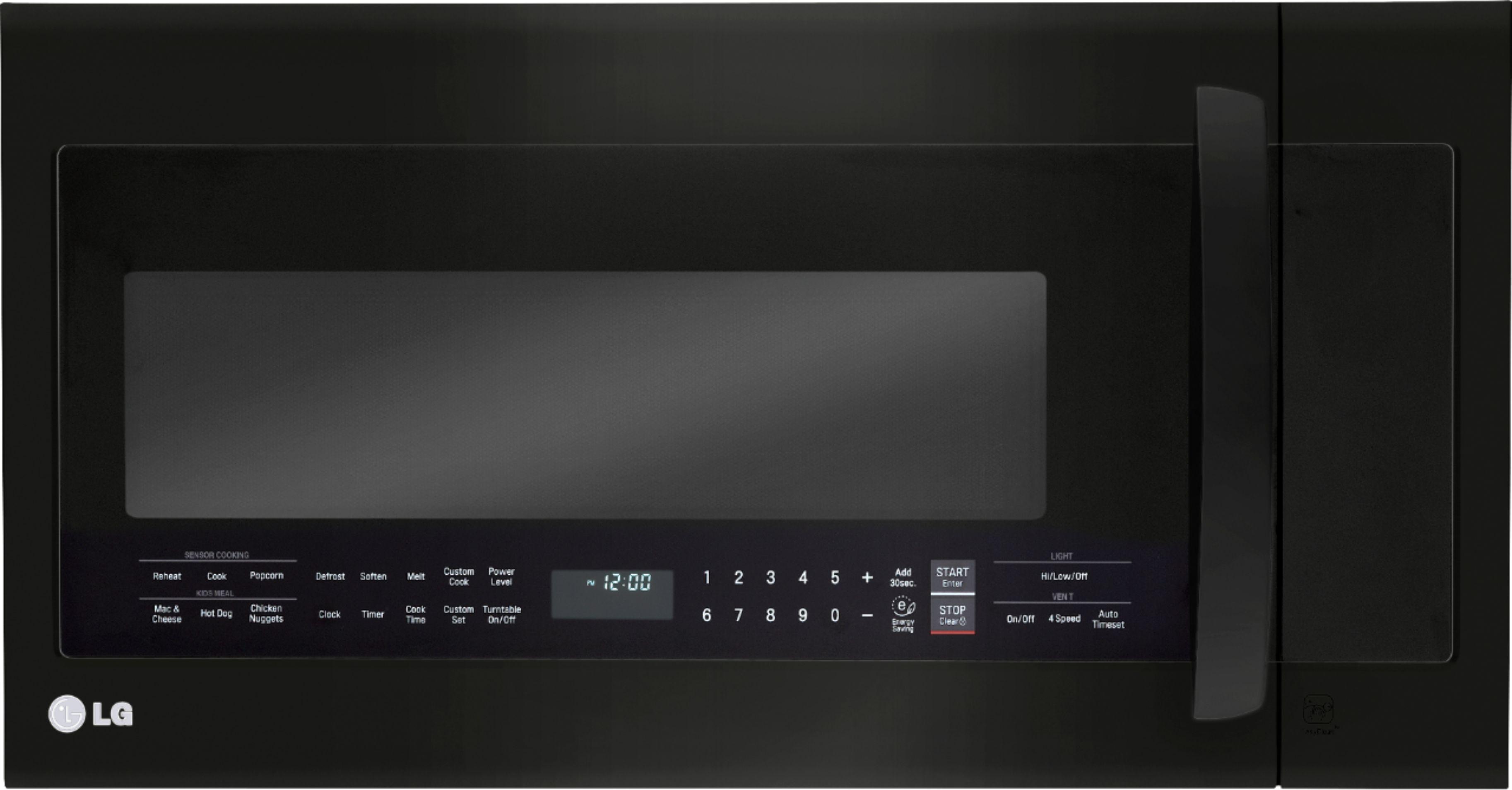 lg 2 0 cu ft over the range microwave with sensor cooking printproof matte black stainless steel