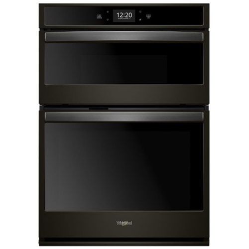 whirlpool 27 double electric convection wall oven with built in microwave black stainless steel