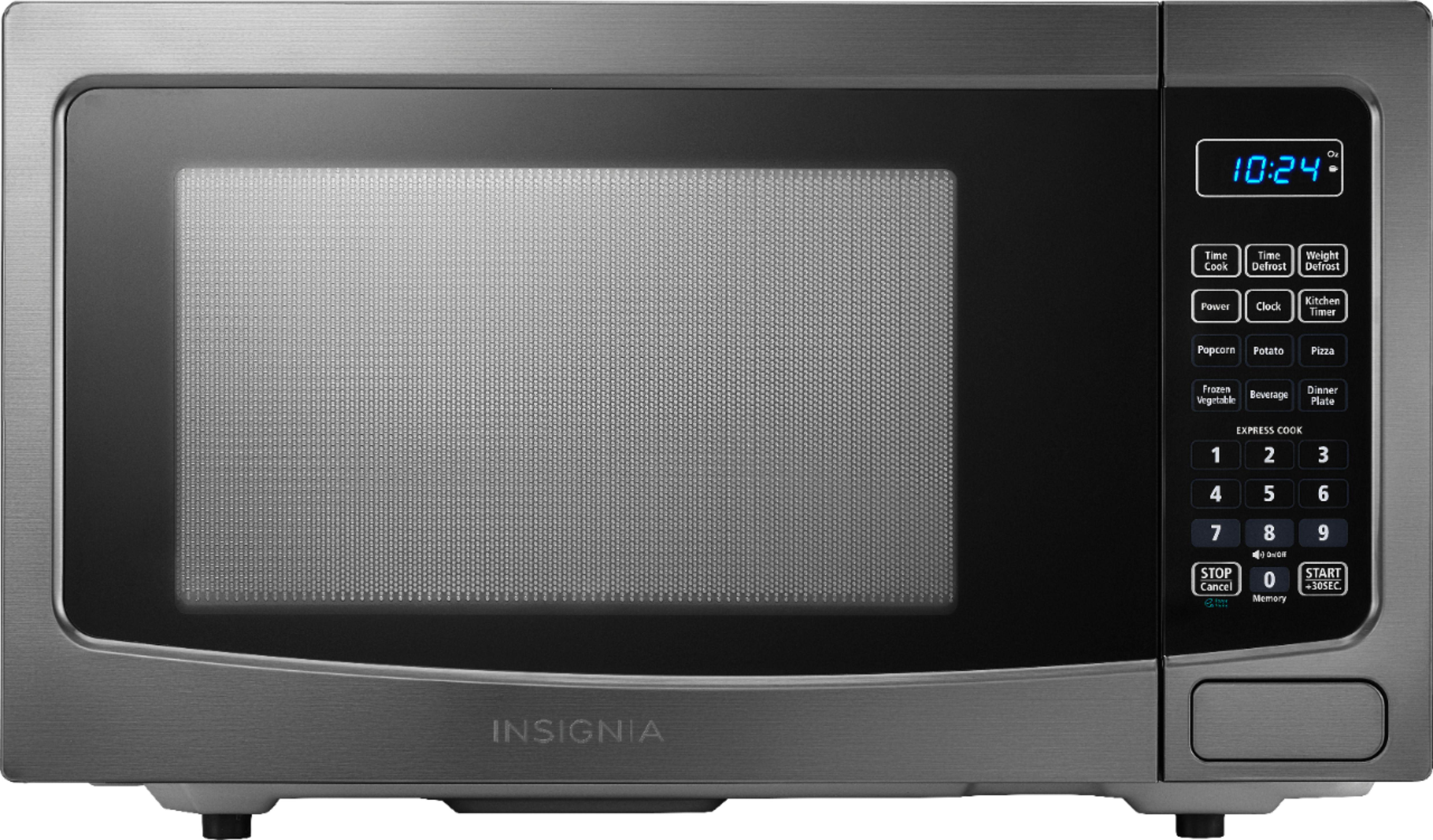 insignia 1 1 cu ft microwave black stainless steel