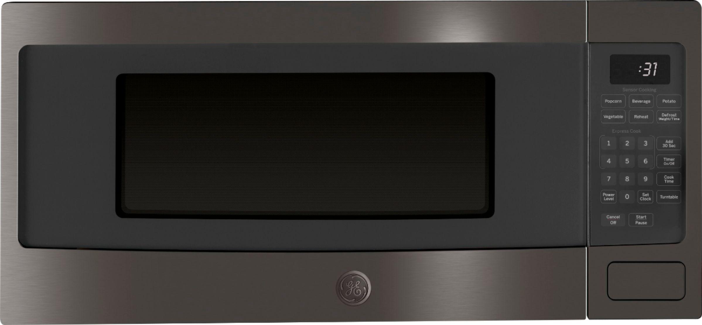 ge profile series 1 1 cu ft microwave black stainless steel