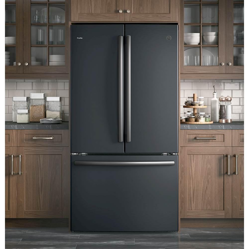 ge profile series 23 1 cu ft french door counter depth refrigerator black slate